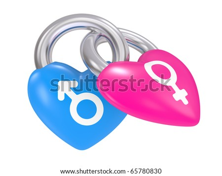 Male And Female Symbols on a heart lock on a white background