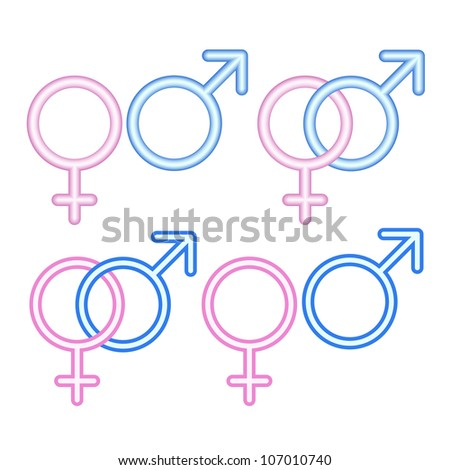Male and  female symbols on white.