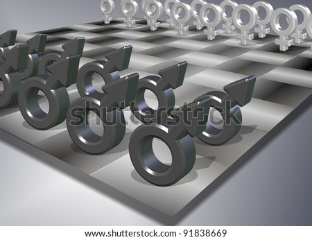 Male and female symbols positioned on a chess board / Male female chess