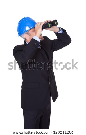 Male Architect Looking Through Binoculars On White Background