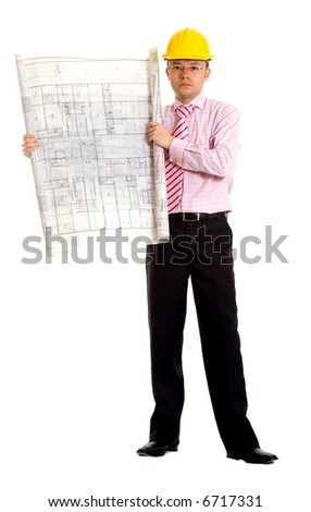 male architect with a yellow safety helmet holding some building plans - isolated over a white background