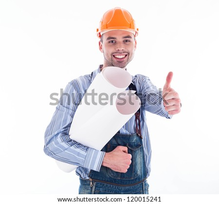 Male architect with blueprints against white background