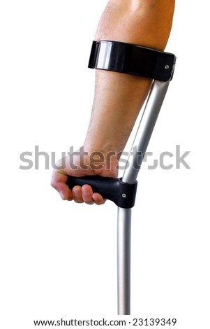 Male arm and hand holding a crutch isolated in white