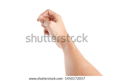 Photo of  Male asian hand gestures isolated over the white background. TOUCHING POSE. FIRST PERSON VIEW.