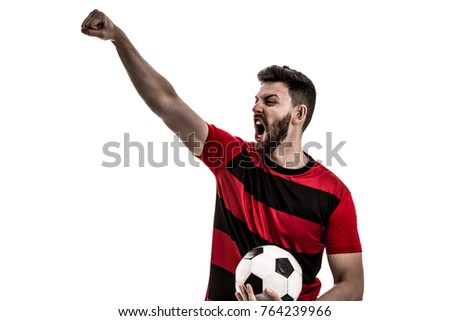 Male athlete / fan in red and black uniform celebrating on white background #764239966