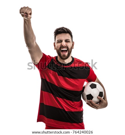 Male athlete / fan in red and black uniform celebrating on white background - Shutterstock ID 764240026