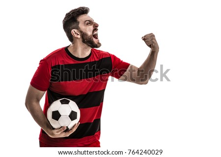 Male athlete / fan in red and black uniform celebrating on white background #764240029