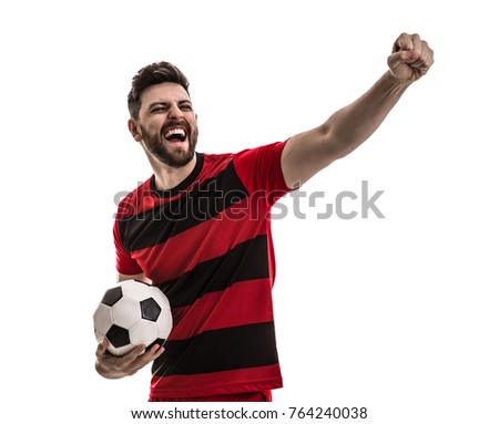 Male athlete / fan in red and black uniform celebrating on white background #764240038