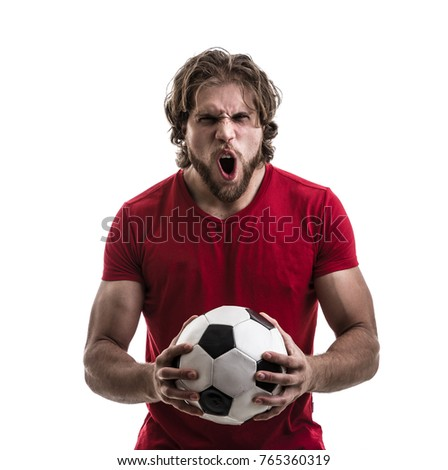 Male athlete / fan in red uniform celebrating on white background - Shutterstock ID 765360319