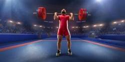 Male athlete is lifting a barbell on a professional stadium. Stadium and crowd are made in 3d.