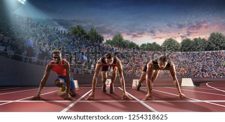 Male athletes sprinting. Three men in sport clothes on starting line prepares to run at the running track in professional stadiumRunning Track, Running, Sports Race, athletics, Sports Track, run, Trac