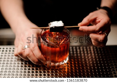 Male bartender adding a brownie piece on the skewer with powdered sugar to a cocktail glass on the bar counter in the blurred background #1361183870