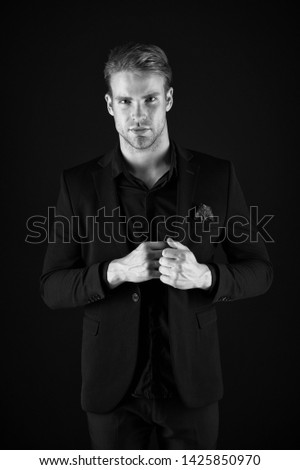 Male beauty and masculinity. Guy attractive confident model. Confident in his style. Man in dark clothes. Casually handsome. Man handsome well groomed macho on black background. Feeling confident. #1425850970