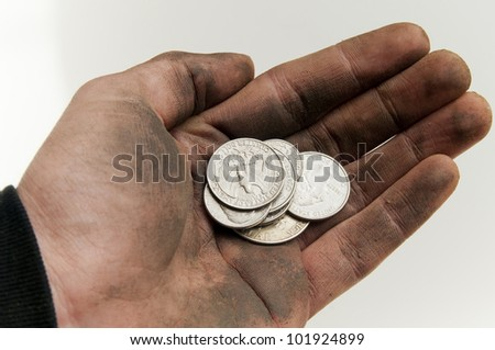 Male beggar holding dirty hand with US coins.