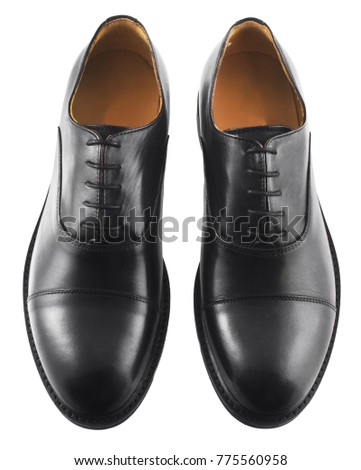 Male black leather shoes isolated on white background #775560958
