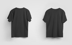Male black t-shirt mockup, front and back view, blank clothes for design and pattern presentation. Unisex casual wear, on the background. Textile apparel template for men. Set