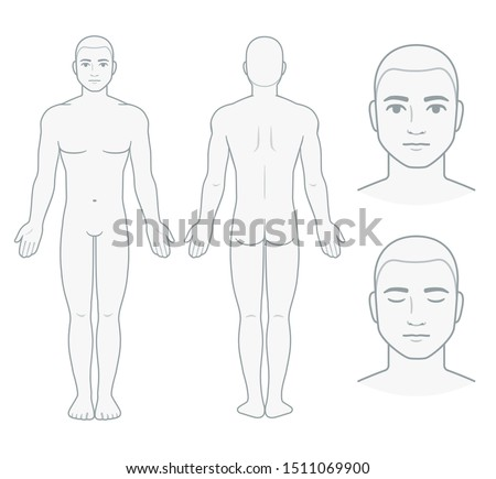 Male body and face chart, front and back view with head close up. Blank man body template for medical infographic. Isolated clip art illustration.