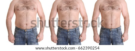 Male body before and after weightloss on white background. Health care and diet concept #662390254