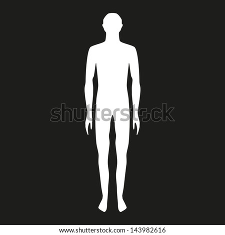 male body shapes. human body outline. full body on a black background ...