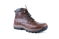 Male brown leather boot on white background.