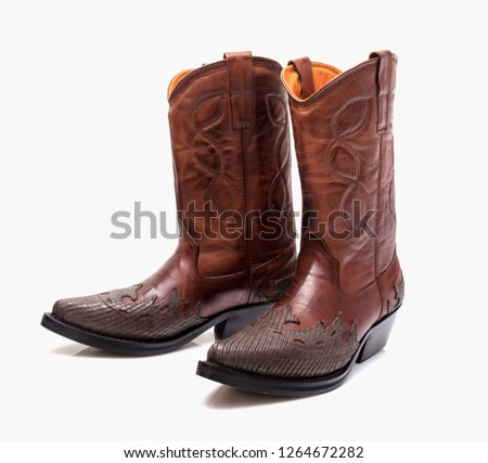 e9ba9084b5c Male brown leather Texas boots on white background