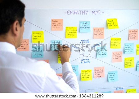 Male business man sticking post it in empathy map, user experience (ux) methodology and design thinking technique, a collaborative tool to gain insight into customers, users and clients. #1364311289
