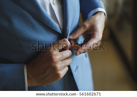 Male buttons jacket, suit