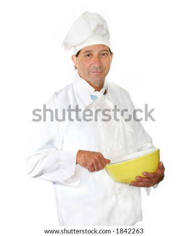 Male chef in uniform with mixing bowl
