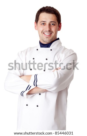 Male chef. Isolated over white.