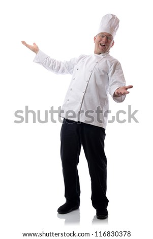 Male chef smiling with open arms isolated on white