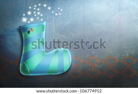 Male Christmas Stocking hung on Wall with Spotlight. Magical Holidays illustration.