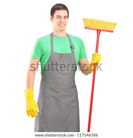 Male cleaner holding a brush isolated on white background