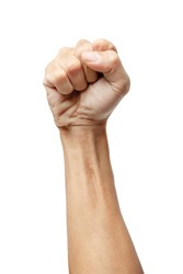 Male clenched fist, isolated on a white background