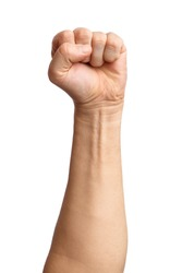 Male clenched fist, isolated on a white background Man hand with a fist. Alpha. Protest.