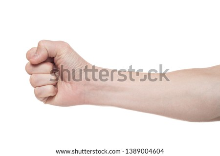 Male clenched fist, isolated on a white background. Win #1389004604