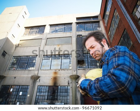 Male Construction Worker, forlorn, outdoors, out of work