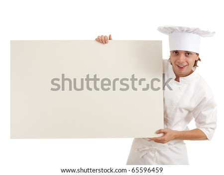 male cook in white uniform and hat with clipboard