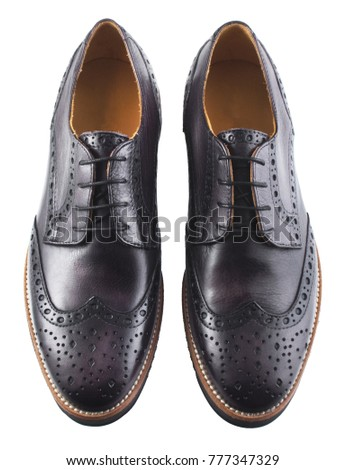 Male dark blue leather shoes isolated on white background #777347329