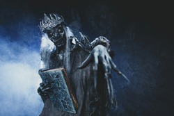 Male demon. Art studio shot. Goth necromancer with horror bodyart