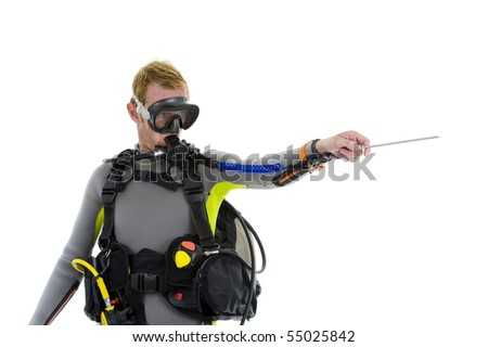 male diver with pointer, isolated on white background