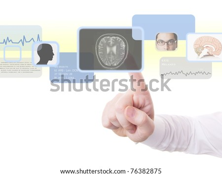 Male doctor using high technology to perform a medical examination of the brain radiology psychology psychiatry technology concept and more