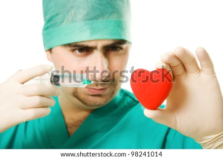 Male doctor with a heart and a syringe in his hand on a white background.