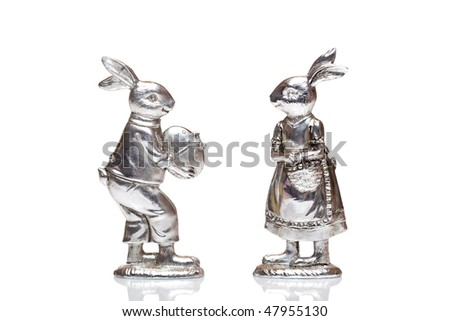 Male Easter bunny and female easter bunny isolated on white background
