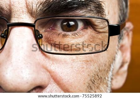 Male eye glasses close up