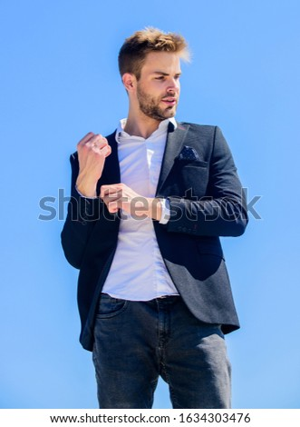 Male fashion. Formal style. Confident handsome businessman. Handsome man fashion model. Looking impeccable. Handsome guy posing in formal suit blue sky background. Office worker. Ready to work.