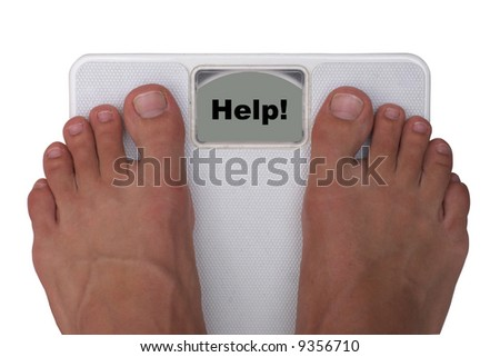 """Male feet on a scale. Isolated on white background. Display showing """"help!""""."""