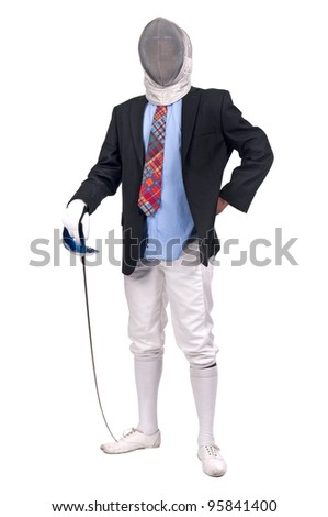 Male fencer businessman isolated in white background