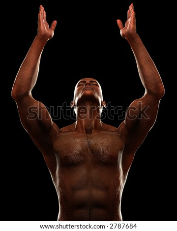 Male figure arms raised to the sky. High contrast lighting