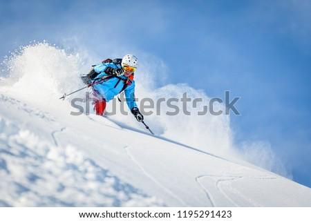 Male freeride skier in the mountains Stock fotó ©