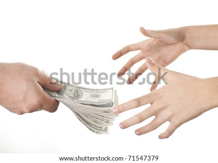Male give  someone money, isolated on white Background